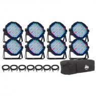 American DJ Mega Flat Pak 8 Multi Slim Par Can LED Stage Light Package - Limited Quantities