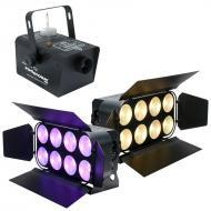 American DJ (2) DOTZ PANEL 2.4 RGB COB LED Wash Fixture w/ Fog Storm 700 Machine