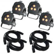 American DJ (4) Ultra Hex Par 3 Lighting Fixture Package with 4 15' DMX Cables