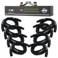 American DJ SP24LED 24-Channel Fixture Switch Pack with 8 15-ft 3-Pin DMX Cables