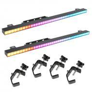 Elation Lighting (2) Pixel Bar 12 Linear Fixtures w/ 4 Heavy Duty Truss Clamps