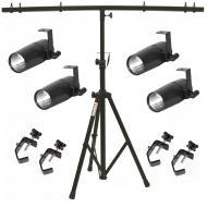 American DJ (4) Pinspot LED II Fixture Package w/ Tripod Stand & 4 Truss Clamps