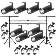 American DJ (8) Pinspot LED II Fixture Package w/ Portable Stand & Truss Clamps