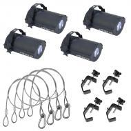 American DJ (4) Tri Gem LED Floor Effect Package w/ Truss Clamps & Safety Cables