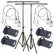 American DJ (4) Tri Gem LED Floor Effect Package w/ 2 Tripod Stands & Harnesses