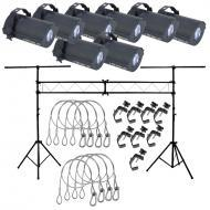 American DJ (8) Tri Gem LED Floor Effects w/ Truss System, 8 Clamps & Harnesses