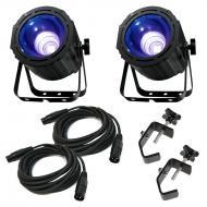 American DJ (2) UV COB Cannon Ultraviolet Wash Package w/ Truss Clamps & Cables