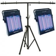 American DJ (2) UV Panel Ultraviolet Light Package with Heavy Duty Tripod Stand