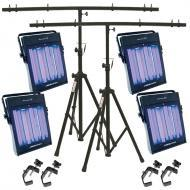 American DJ (4) UV Panel Ultraviolet Light Package with Tripod Stand & 4 Clamps