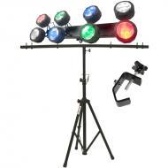 American DJ Octo Beam RGBW 8-Head LED Beam Package w/ Tripod Stand & Truss Clamp