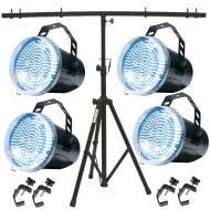 American DJ (4) Snap Shot LED II Strobe Package w/ Tripod Stand & 4 Truss Clamps