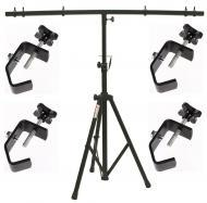 DJ Pro Audio Lighting Fixture Tripod Stand & T-Bar Light Truss & (4) C Clamps