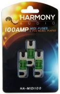 Harmony Audio HA-MIDI100 Car Stereo Fuseholder 3 Pack 100 Amp MIDI Fuses - Nickel