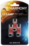 Harmony Audio HA-MIDI125 Car Stereo Fuseholder 3 Pack 125 Amp MIDI Fuses - Nickel