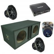 "Kicker Car Stereo Dual 12"" Vented CVX12 Comp VX Subwoofer Enclosure Sub box with Rockford Fo..."