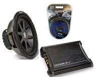 "Kicker Car Audio 12"" Sub Package CVR12 Dual 4 Ohm Subwoofer, ZX350.4 Amp & Install Wire Kit"
