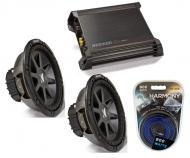 """Kicker Car Stereo 10"""" Sub Package CVR10 Dual 2 Ohm Subwoofer Pair, DX500.1 Amp & Install..."""