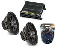 """Kicker Car Stereo 10"""" Sub Package CVR10 Dual 2 Ohm Subwoofer Pair, CX600.1 Amp & Install..."""