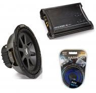 "Kicker Car Audio 10"" Sub Package CVR10 Dual 4 Ohm Subwoofer, ZX350.4 Amp & Install Wire Kit"