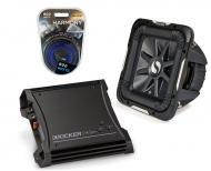 """Kicker Car Stereo 12"""" Sub Package 2011 S12L7 Dual 4 Ohm Subwoofer, ZX400.1 Refurbished Amp &..."""