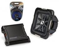 """Kicker Car Audio 10"""" Sub Package 2011 S10L7 Dual 4 Ohm Subwoofer, ZX400.1 Refurbished Amp &a..."""