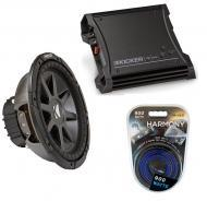 """Kicker Car Stereo 12"""" Sub Package CVR12 Dual 4 Ohm Subwoofer, ZX400.1 Amp & Install Wire..."""