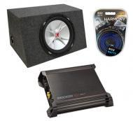 "Kicker CVR15 15"" Sealed Sub Box W/ DX500.1 Amplifier & 8 Gauge Kit"