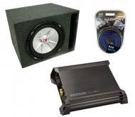 "Kicker 15"" CVR15 Powered Sub Box W/ DX500.1 Amp & 8 Gauge Kit"