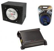 "Kicker CVR15 15"" Rearfire Subwoofer Box W/ DX500.1 Amp & 8 Gauge Kit"