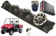 "Honda Big Red Powered Kicker KS525 / Rockford Amp Quad (4) 5 1/4"" Speaker UTV Pod System"