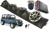 "Jeep Wrangler YJ TJ JK Powered Kicker KS525 / Rockford Amp Quad (4) 5 1/4"" Speaker UTV Pod S..."
