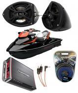 "Sea-Doo PWC Marine Kicker KS525 & Rockford Amp Custom 5 1/4"" Black Speaker Pods System"