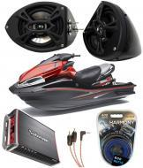 "Kawasaki Jet Ski PWC Marine Kicker KS525 & Rockford Amp Custom 5 1/4"" Black Speaker Pods..."