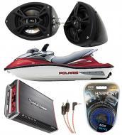 "Polaris PWC Marine Kicker System KS525 Custom 5 1/4"" Gloss Black Speaker Pods Pair"