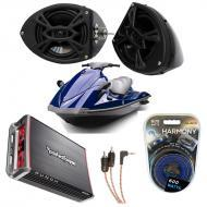 "Yamaha Wave Runner PWC Marine Kicker KS525 & Rockford Amp Custom 5 1/4"" Black Speaker Po..."