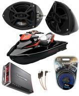 "Sea-Doo PWC Marine Rockford R152 &  PBR300X4 Amp Custom 5 1/4"" Black Speaker Pods System"