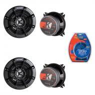 Kicker (2) KS40 4-Inch KS Series 2-Way Coaxial Speakers with 300W Amplifier Kit