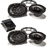 "Kicker (2) KS693 6x9"" KS Series 3-Way Triaxial Speakers w/ CE200M Mini Mono Amp"