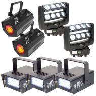 American DJ (2) Crazy 8 Dual 4-Lens Bar Moving Head with Strobes & Moonflowers