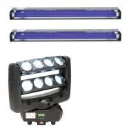 "American DJ Crazy 8 Dual 4-Lens Bar Moving Head with (2) 24"" Blacklight Fixtures"