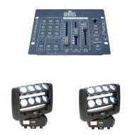 American DJ (2) Crazy 8 Dual 4-Lens Bar Moving Head with Obey 3 DMX Controller