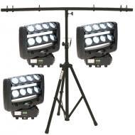 American DJ (3) Crazy 8 Dual 4-Lens Bar Moving Heads w/ T-Bar Top Tripod Stand