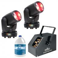 American DJ (2) Inno Beam LED Moving Head Fixtures with Bubble Machine & Fluid