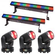 American DJ (3) Inno Beam LED Moving Head Fixtures with (2) Linear Wash Lights