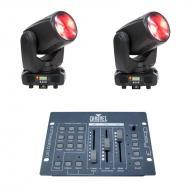 American DJ (2) Inno Beam LED Moving Head Fixtures with Obey 3 DMX Controller