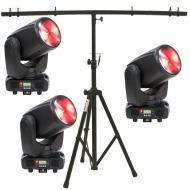 American DJ (3) Inno Beam LED Moving Head Fixtures with T-Bar Top Tripod Stand