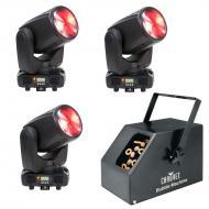 American DJ (3) Inno Beam LED Moving Head Fixtures with B-250 Bubble Machine