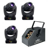 American DJ (3) Inno Spot Pro LED Moving Head Fixtures with B-250 Bubble Machine