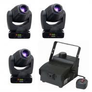 American DJ (3) Inno Spot Pro LED Moving Head Fixtures with EF-400 Fog Machine