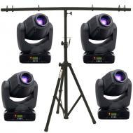 American DJ (4) Inno Spot Pro LED Moving Head Fixtures w/ T-Bar Top Tripod Stand